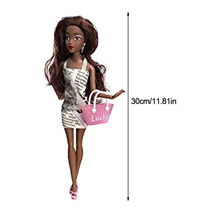 Lancei Simulation Baby Doll, Fashionable And Realistic Cute Curly African Black Doll, For Baby