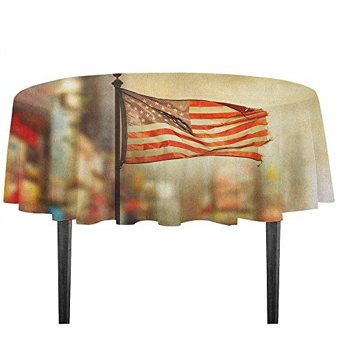(kangkaishi United States Washable Tablecloth American Flag Waving in City National Independence Day Celebration Theme Desktop Protection pad D59.05 Inch Sepia Red Blue)