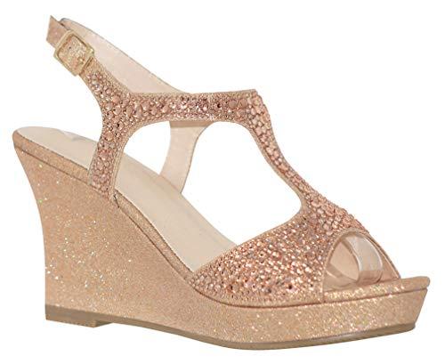 MVE Shoes Women's Open Toe Glitter Wedges Adjustable Strap, WINNI-12 Rosegold 7.5