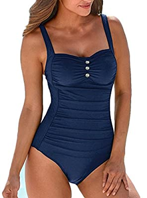 Upopby Women's Retro Tummy Control One Piece Swimsuits Monokini Push Up Bathing Suits Swimwear