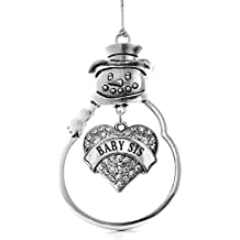 Inspired Silver Baby Sis Pave Heart Snowman Holiday Decoration Christmas Tree Ornament