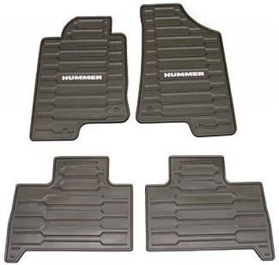 GM # 12498903 Floor Mats - Front and Rear Premium All Weather - Ebony with Hummer Logo ()