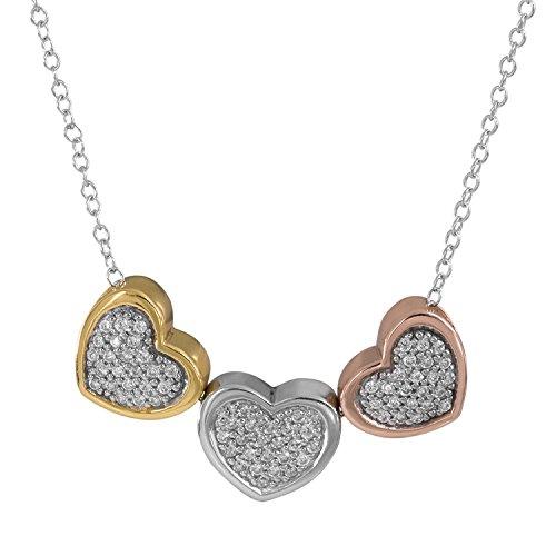 - Hallmark Jewelry Tri Color Sterling Silver Cubic Zirconia