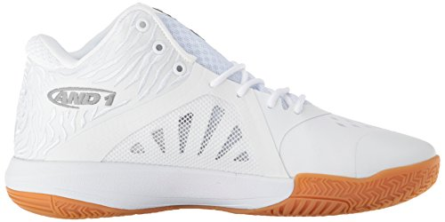 Men's Attack Foil Mid White Super AND1 Basketball Gum Shoe Fd5Twqgx7