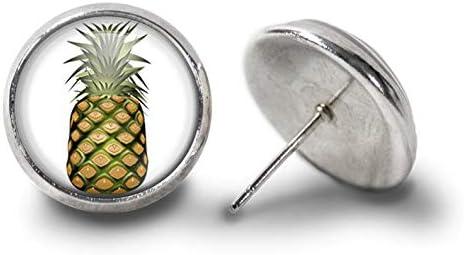 [해외]Sunshine Pineapple Earrings, Tropical Fruit Earrings,Hawaiian Tropical Jewelry for Her,Dome Glass Ornaments / Sunshine Pineapple Earrings, Tropical Fruit Earrings,Hawaiian Tropical Jewelry for Her,Dome Glass Ornaments