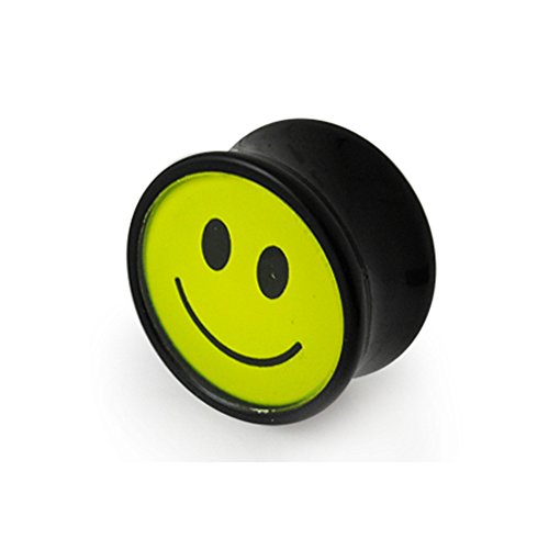 24MM Smiley Face Logo Black UV Double Flared Ear Plug Body jewelry by Tunnel-Plug-Taper