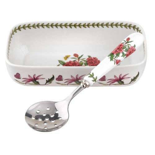 (Portmeirion 608832 Botanic Garden Cranberry Dish & Slotted Spoon, White)