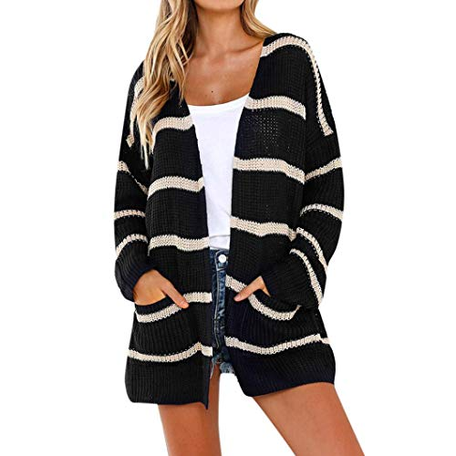 (Clearance Sale Women Knit Cardigans Color Block Striped Open Front Cardigans Long Sleeve Pocket Sweaters (XL, Black))