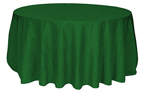 Your Chair Covers - 132 Inch Round Crinkle Taffeta Tablecloth Hunter Green, Round Table Linens for 6 ft Round Banquet Tables