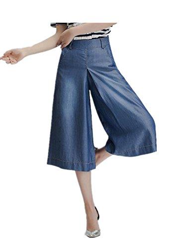Tengfu Women's Tencel Baggy Wide Leg Bootcut Capri Palazzo Jean Pants Suits Blue
