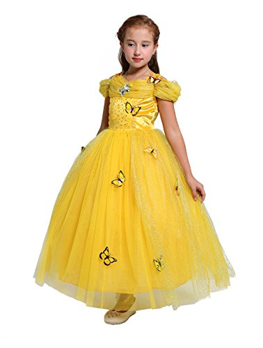 Brooch Butterfly Dress (Dressy Daisy Girls' Princess Belle Costume Princess Dress Halloween Fancy Dress Up Size 4/5)