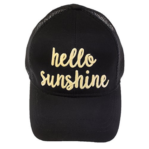 BYSUMMER Women's 3D Embroidered Phrase Pony Cap Heat Reactive Color Changing Ponytail Trucker Cotton Cap Hat (Hello Sunshine (White to Yellow)) - Embroidered Pony