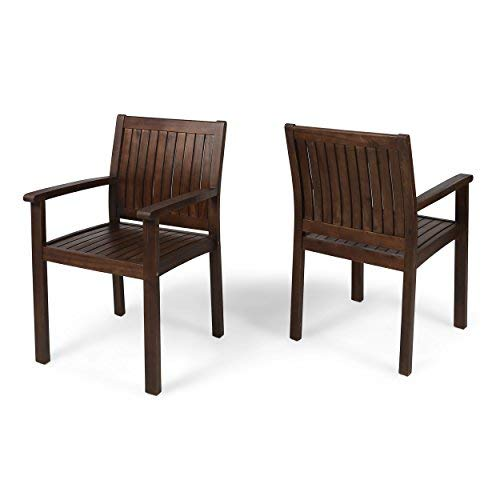Great Deal Furniture 305901 Kylan Outdoor Acacia Wood Dining Chairs (Set of 2), Dark Brown Finish ()