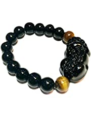 Feng Shui The Best Porsperity 10mm Black Obsidian Bead Bracelet with Black Pi Xiu/Pi Yao Attract Wealth and Good Luck with Tiger's Eye