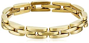 """Men's 18kt Gold Plated Stainless Steel Bike Chain Bracelet, 8.5"""""""