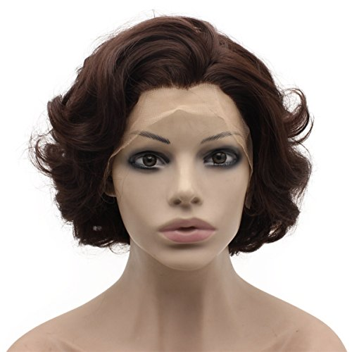 Mxangel Short Curl Wig Heat Resistant Synthetic Lace Front Natural Curly Wig Brown (Brown Wig Angel)