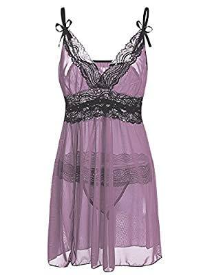 Sweetnight Women Plus Size L_5XL Lace Lingerie Set Semi Sheer Chemise Babydoll Dress with G-string