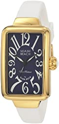 Glam Rock Women's MBD27133 Miami Beach Art Deco Dark Blue Dial White Silicone Watch