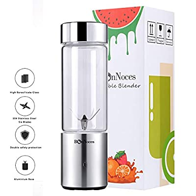 BonNoces Portable Blender USB Rechargeable, Glass Juicer Cup with Six Blades, 400ml Personal Fruit Blender for Shakes and Smoothies