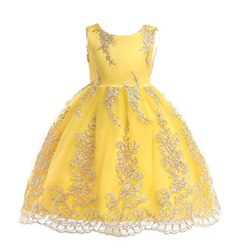 JIANLANPTT Elegant Embroidered Dress Flower Girl Princess Wedding Party Lace Tulle Dress for Girls Yellow 4-5Years ()