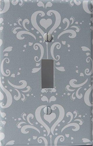 Gray Damask Light Switch Plate Covers / Single Toggle / Damask Nursery Wall Decor (Grey Damask Single Toggle Switch Plate)