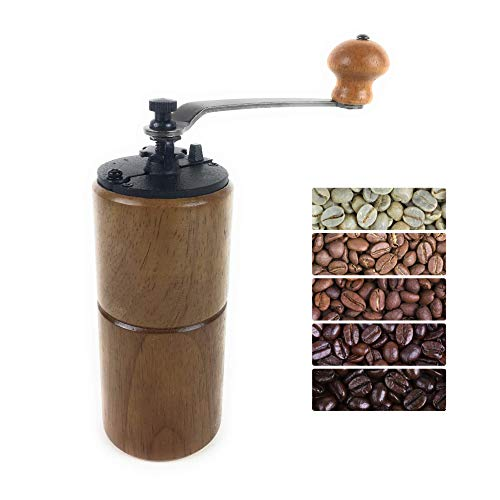 Fumao Hand Coffee Grinder Wooden Coffee Mill with Ceramic Burr, Large Capacity Dark Wood, Cast Iron Manual Crank, Portable Adjustable