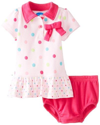 Bon Bebe Baby-Girls Newborn Short Sleeve Polka Dot Dress Set with Diaper Cover, Multi, 3-6 Months