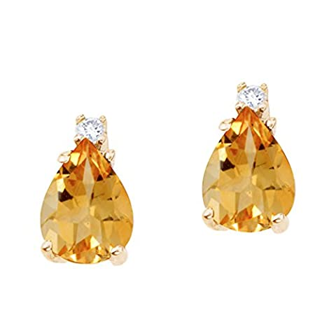 14k Yellow Gold Large 9x6mm Pear Shaped Citrine and Diamond Earrings