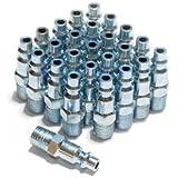 Primefit IP1414MS-B25-P 1/4-Inch Steel Male Industrial Plug Contractor Pack, 25-Piece
