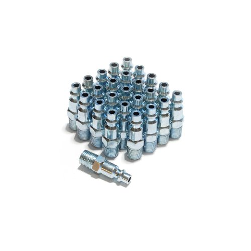 (Primefit IP1414MS-B25-P 1/4-Inch Steel Male Industrial Plug Contractor Pack, 25-Piece)