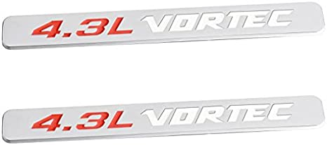 Yoaoo 2x OEM 4.3L Vortec Hood 4.3 L Emblems Engine Badge 3D Silverado Z71 Gmc Sierra Glossy Chrome