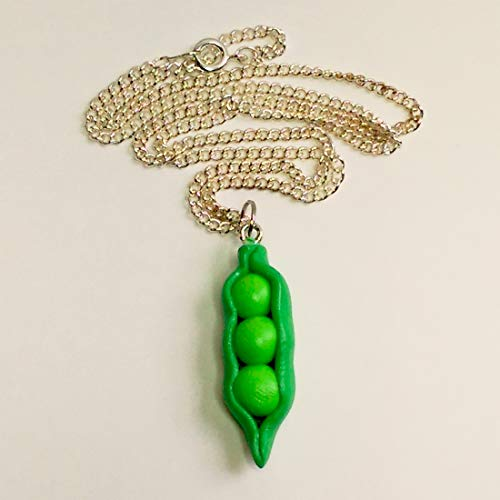 Three Peas in a Pod Necklace Faux Food Jewelry Halloween Thanksgiving Fall Christmas -