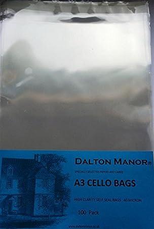 Amazon.com: A3 Cello Bolsas de espesor 40 micron-, 100 ...