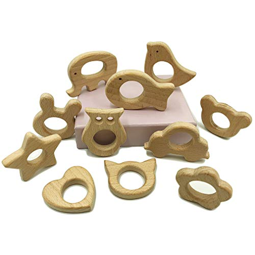 Mulitigy Wooden Teether 11pc Nature DIY Baby Teething Toy Organic Eco-Friendly Wood Teething Holder Nursing