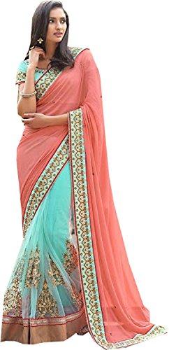 Rekha Ethnic Shop Gajri & Firozi Color Heavy New Designer Sari Ladies Wedding Wear Saree by REKHA