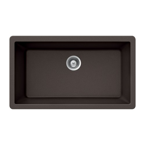 (Houzer VIRTUS N-100XLU MOCHA Virtus Series Topmount Granite Single Bowl Kitchen Sink, Mocha)