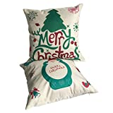 ULOVE LOVE YOURSELF 2Pack Merry Christmas Decorative Pillow Covers Christmas Tree Santa Claus Pillowcases Throw Cushion Cover 18x18 Inches(Christmas-2)