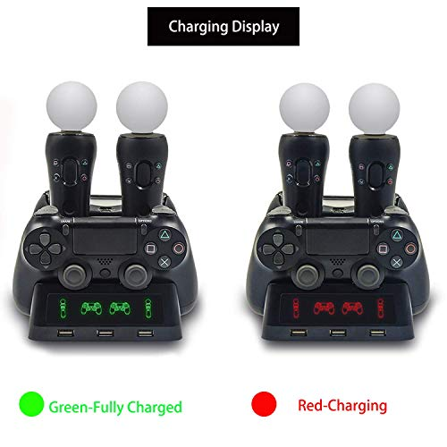 VTone 4 in 1 Controller Charging Dock Station for PSmove and PS4, USB Four Seater Charger for Playstation4 and PS4 VR Gamepad.