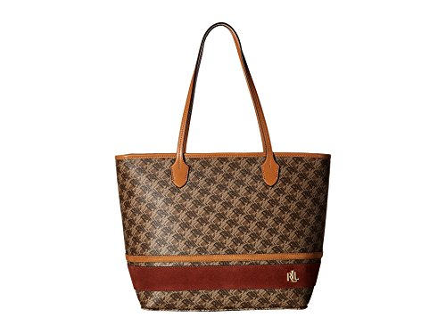 LAUREN Ralph Lauren Women's Dobson Ashley Tote Brown/Auburn/Caramel Stripe One - Ralph Brown Bag Lauren