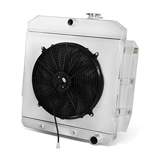 For Chevy C/K Series/GMC 100/150 l6/V8 OHV 3-Row Tri-Core Aluminum Radiator + 12V Fan Shroud