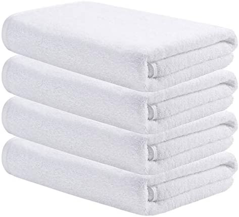 AmazerBath Bath Towels, Cotton Shower Towels, 500GSM Absorbent Soft Luxury Towels for Bathroom Hotel Spa Gym, 27x54 Inches White Towels, Set of four