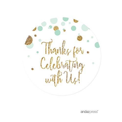 Andaz Press Mint Green Gold Glitter Boy Baby Shower Party Collection, Round Circle Label Stickers, Thank You for Celebrating With Us, - Collections Us