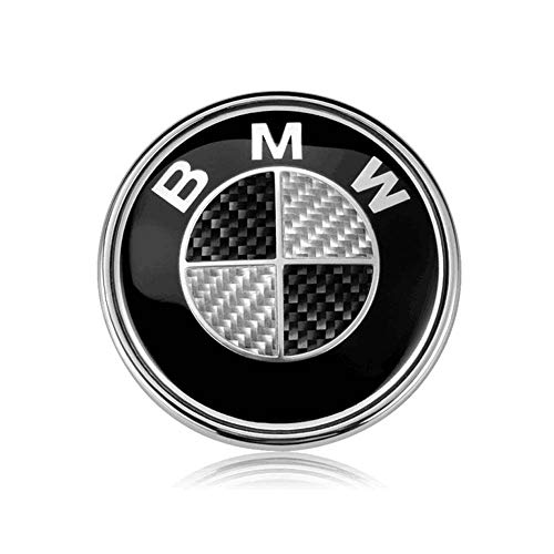 (BMW Emblems Hood/Trunk, 82mm Carbon Fiber BMW Logo Replacement for ALL Models BMW E46 E30 E36 E34 E38 E39 E60 E65 E90 325i 328i X3 X5 X6 3 4 5 6 7 8 (Black))