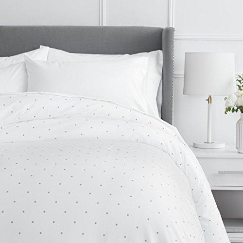 Pinzon 170 Gram Flannel Duvet Cover - Full/Queen, Grey Dot