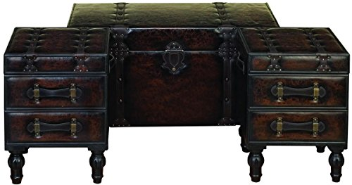 Deco 79 99023 Wood Leather Trunks (Set of 3), 36