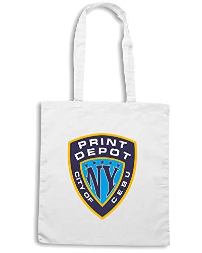 Speed NYPRINTDEPOT Shirt Bianca CITTA TM0110 Shopper Borsa BBqnOr