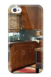Hot Fashion GJkWQWZ6138OBWzA Design Case Cover For Iphone 4/4s Protective Case (kitchen With Brown Cabinets Amp Blue Tile Backsplash)