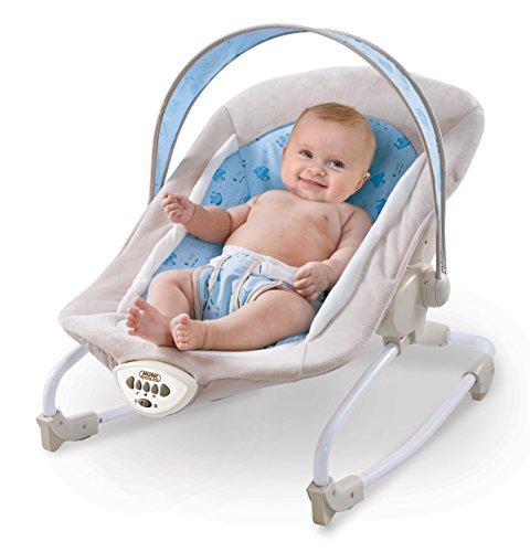 Babywippe in Blau mit Vibration und verschiedenen Melodien zur Auswahl | Babyschaukel für Kinder bis 18 kg geignet