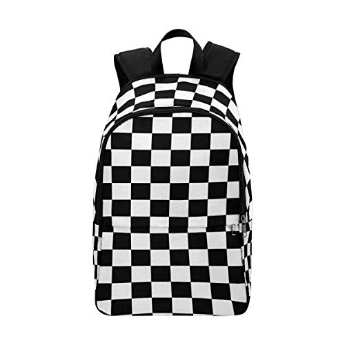 InterestPrint Black and White Checkered Background School Backpack Lightweight Durable Daypack Backpack -