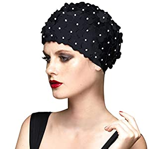 BALNEAIRE Flowers Swim Cap Women Pearl Floral Swim Cap Hat Long Hair Polyester Swimming Caps Not Waterproof